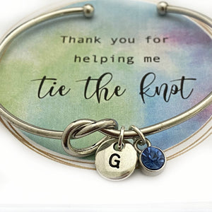 Love Knot Bracelet, Knot Bangle, Love Knot jewelry, Thank you for helping me tie the Knot Bracelet, Personalized Bridesmaid Gift