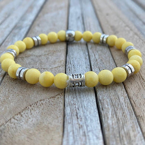 Yellow Jade Gemstone Bracelet, Beaded Stretch Bracelet, Boyfriend Bracelet, Boyfriend Christmas Gift, Mens Bracelet, Mens jewelry