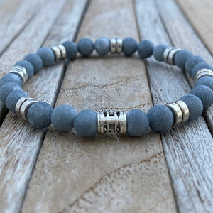 Natural Stone Beaded Bracelet, Boyfriend Gift, Christmas Gift for Boyfriend, Mens Bracelet, Mens jewelry Personalized Gift, Grey stone