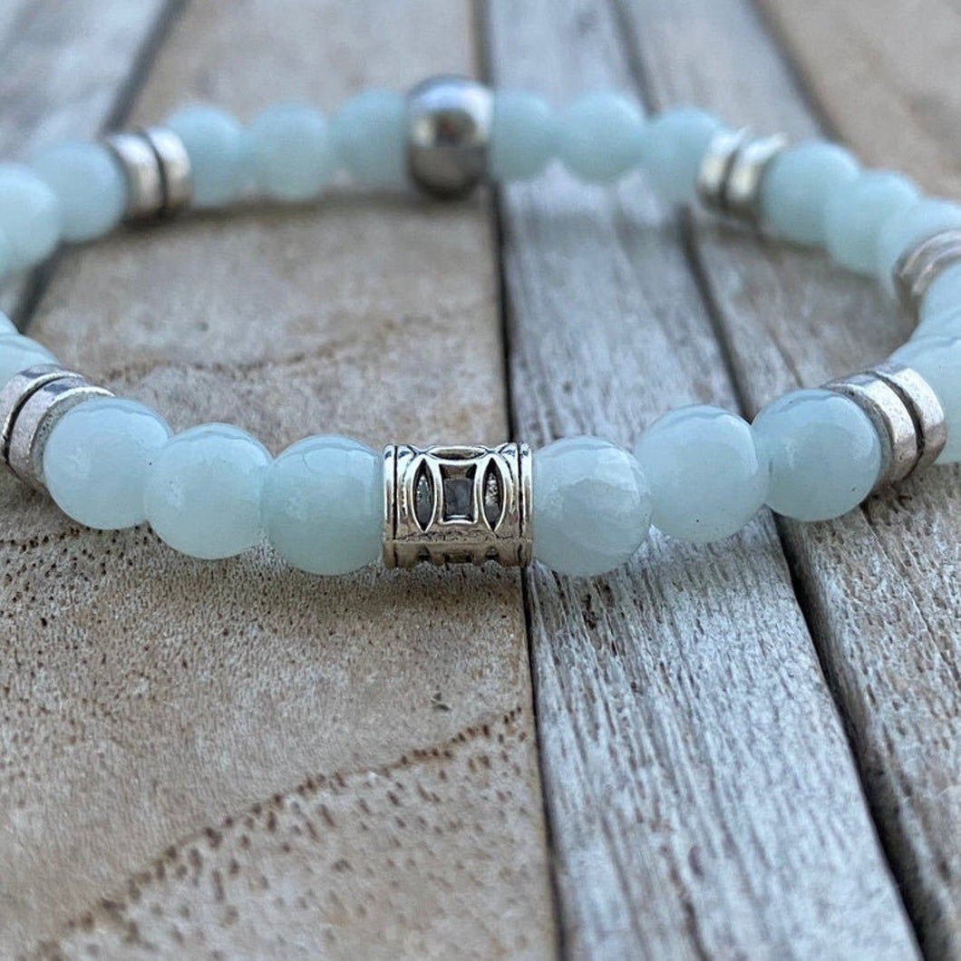 Light blue Jade Gemstone Bracelet, Beaded Stretch Bracelet, Gemstone Bracelet, Boyfriend Christmas Gift, Mens Bracelet, Mens jewelry