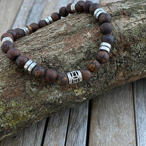 Brown Natural Gemstone Bracelet Gift, Beaded Stretch Bracelet, Boyfriend Bracelet, Gift for Boyfriend, Mens Bracelet, Mens jewellery