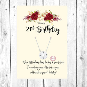 Silver Compass Necklace, Confirmation Necklace: 21st Birthday Gift Necklace: Birthday Gift, Jewelry Gift For Her, Sterling Silver Compass Necklace, 21 birthday card, Compass Gift