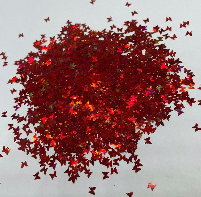 'Fireflies' Chunky Holographic Red Butterflies