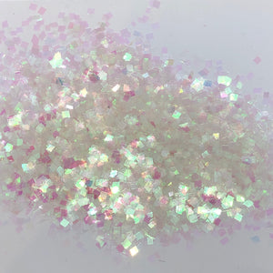 'White Lies' Chunky Iridescent White Square Glitter