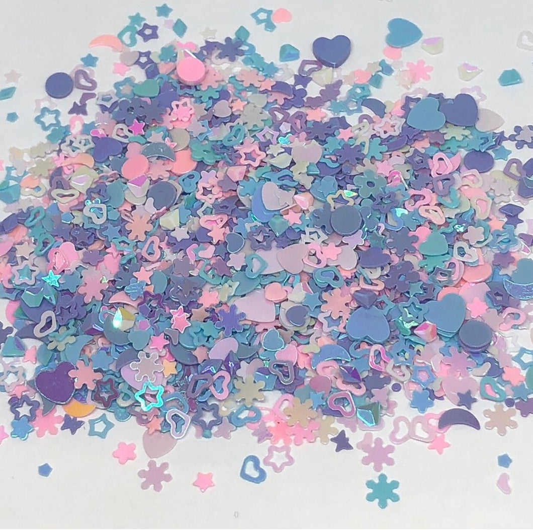 'Polly Pocket' Chunky Pastel Multi Shape Glitter