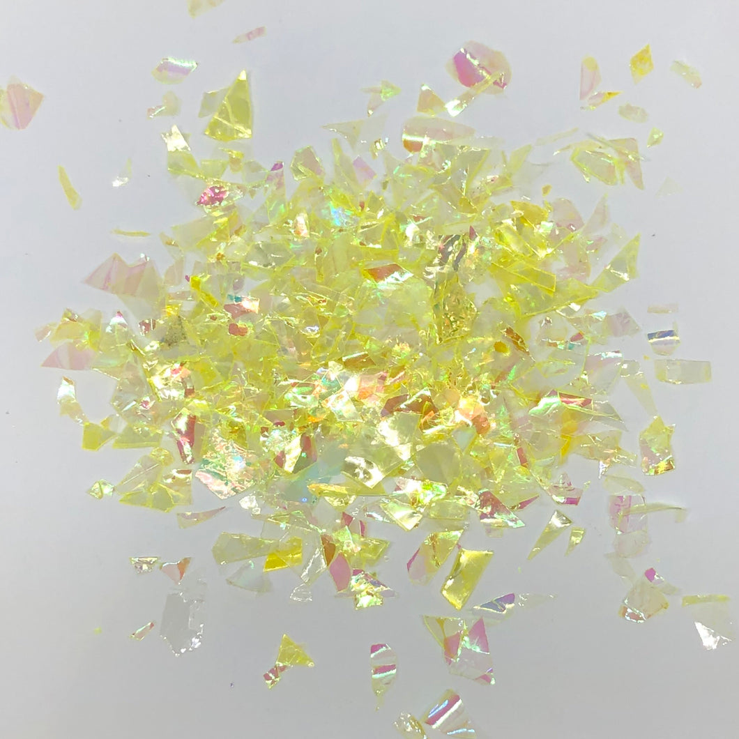 'Lemon Drizzle' Chunky Iridescent Neon YellowFlakes