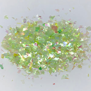 'Mojito' Chunky Iridescent Light Green Flakes