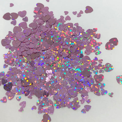 'Queen of Hearts' Chunky Holographic Pink Star Glitter