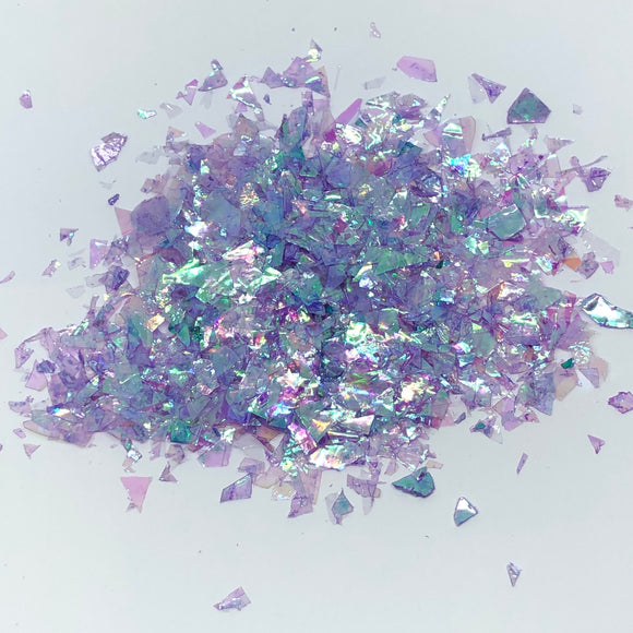 'Mystique' Chunky Iridescent Light Purple Flakes