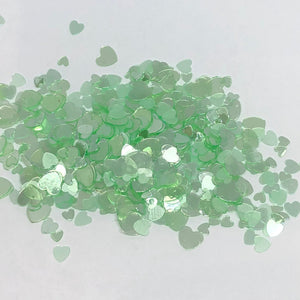 'Lucky in Love' Chunky Iridescent Green Heart Glitter