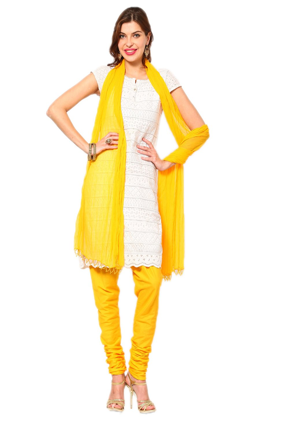 Castle Yellow Churidar Dupatta