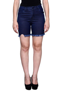 Castle Navy Blue Thread Cut Denim Shorts
