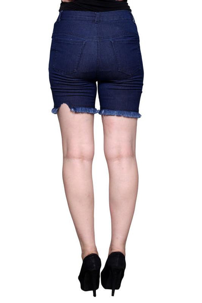 Castle Navy Blue Thread Cut Denim Shorts - Castle Lifestyle