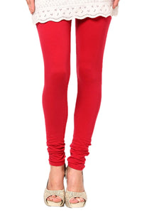 Red Cotton Lycra Leggings
