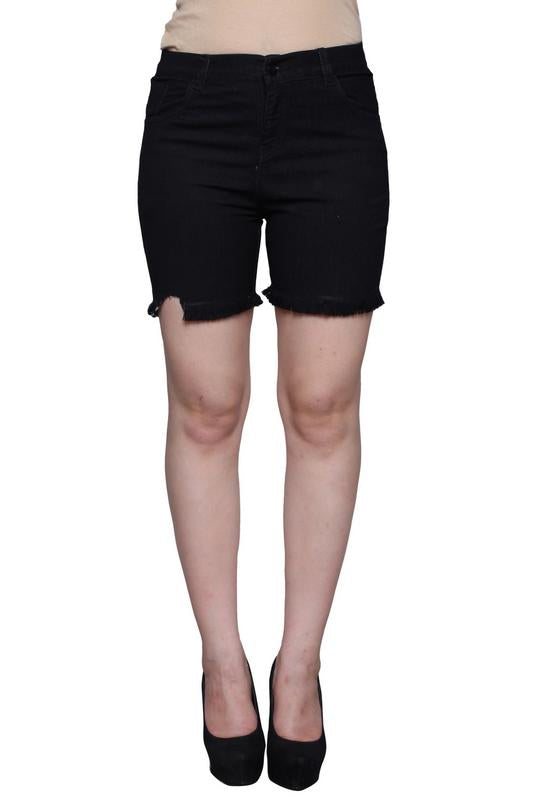 Castle Black Thread Cut Denim Shorts