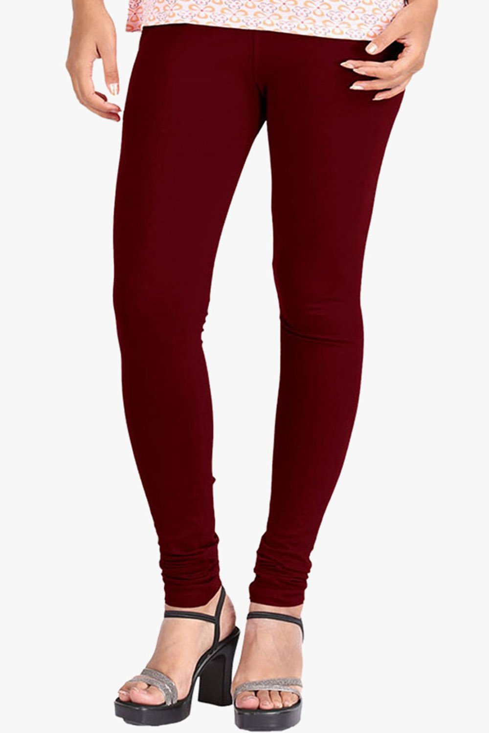 Maroon Cotton Lycra Leggings