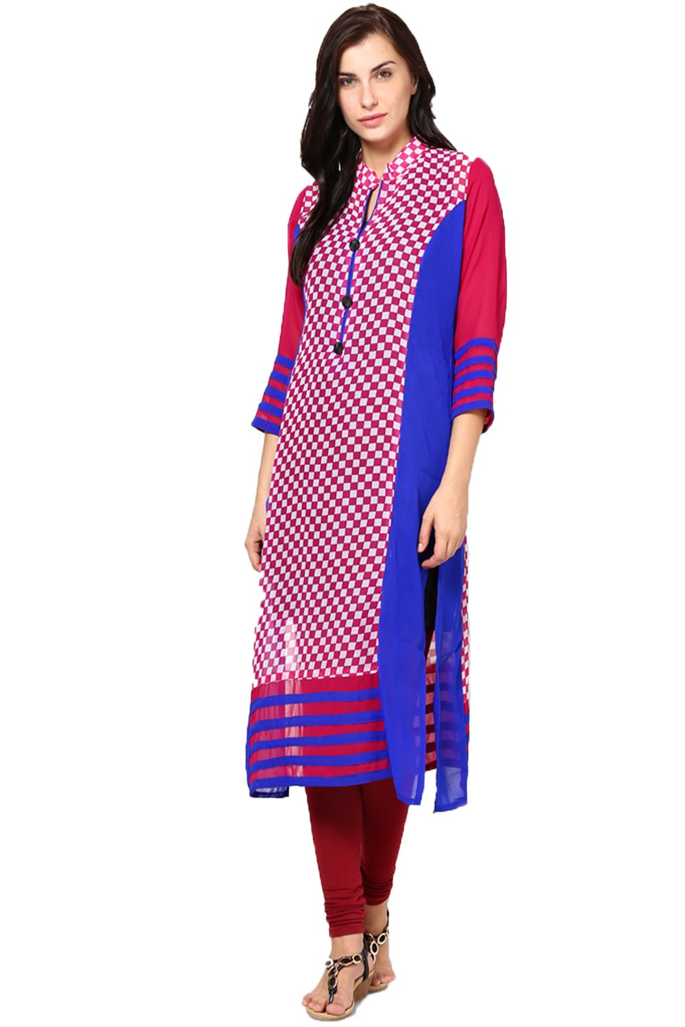 Castle Multicoloured Printed Georgette Kurta