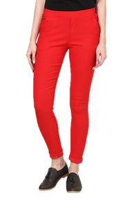 Castle Red Plain Jegging