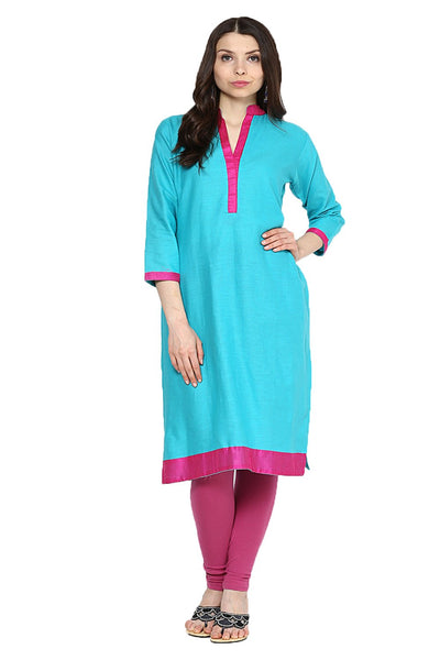 Castle Aqua Blue Cotton Kurta