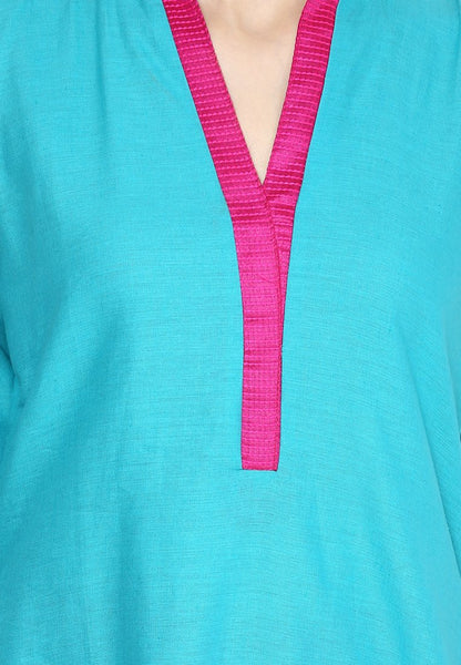 Castle Aqua Blue Cotton Kurta - Castle Lifestyle