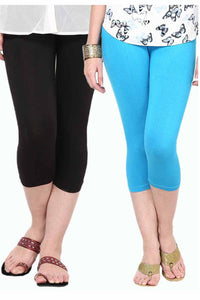 Castle Pack of 2 Multicolor Solid Capris