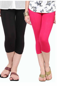 Castle Pack of 2 Multicolor Solid Capris3