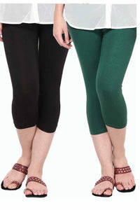 Castle Pack of 2 Multicolor Solid Capris4