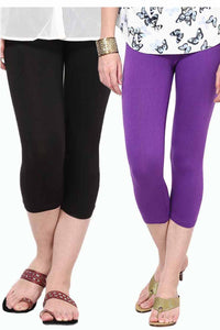 Castle Pack of 2 Multicolor Solid Capris9