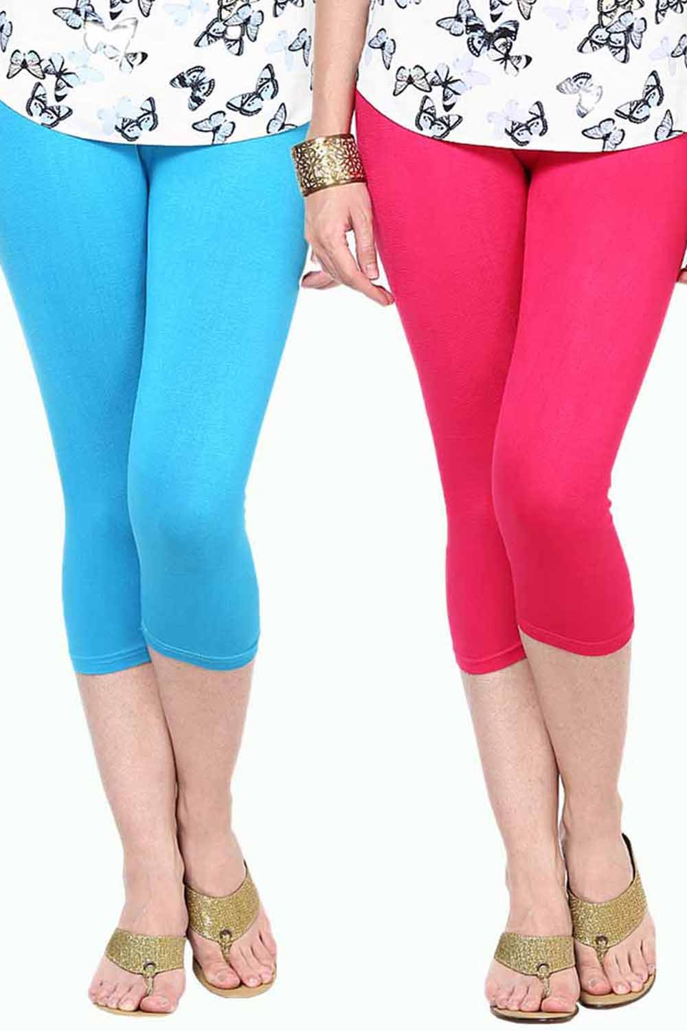 Castle Pack of 2 Multicolor Solid Capris14