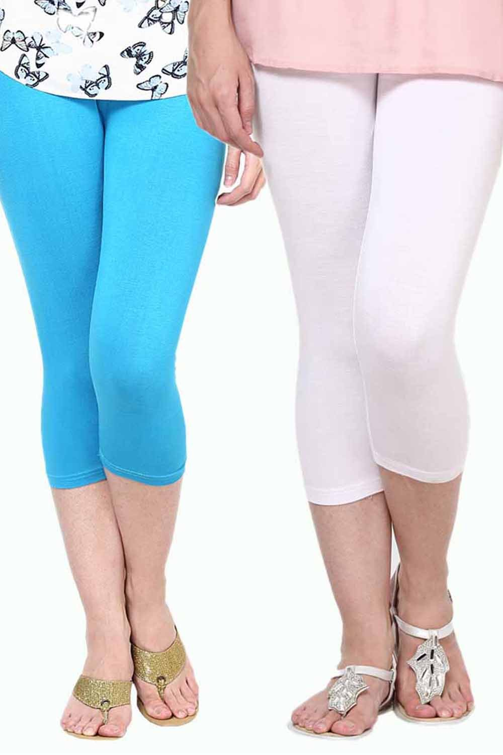 Castle Pack of 2 Multicolor Solid Capris22
