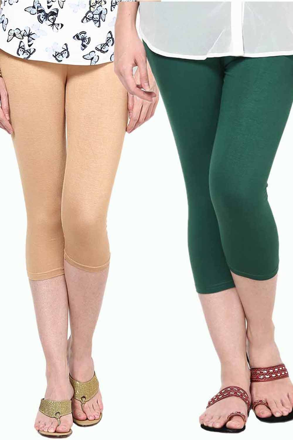 Castle Pack of 2 Multicolor Solid Capris25