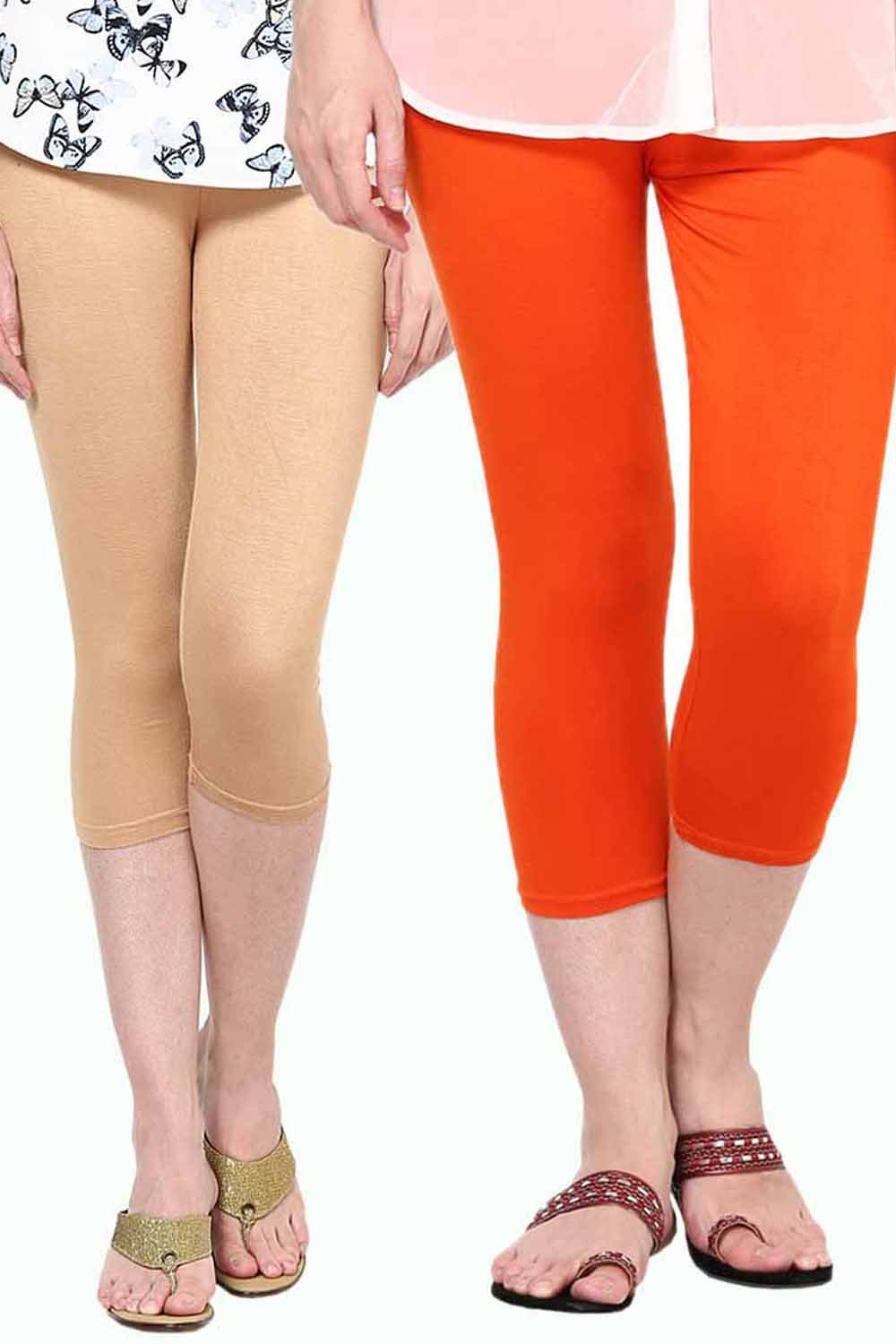 Castle Pack of 2 Multicolor Solid Capris28