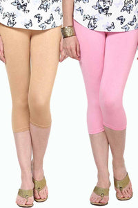 Castle Pack of 2 Multicolor Solid Capris29