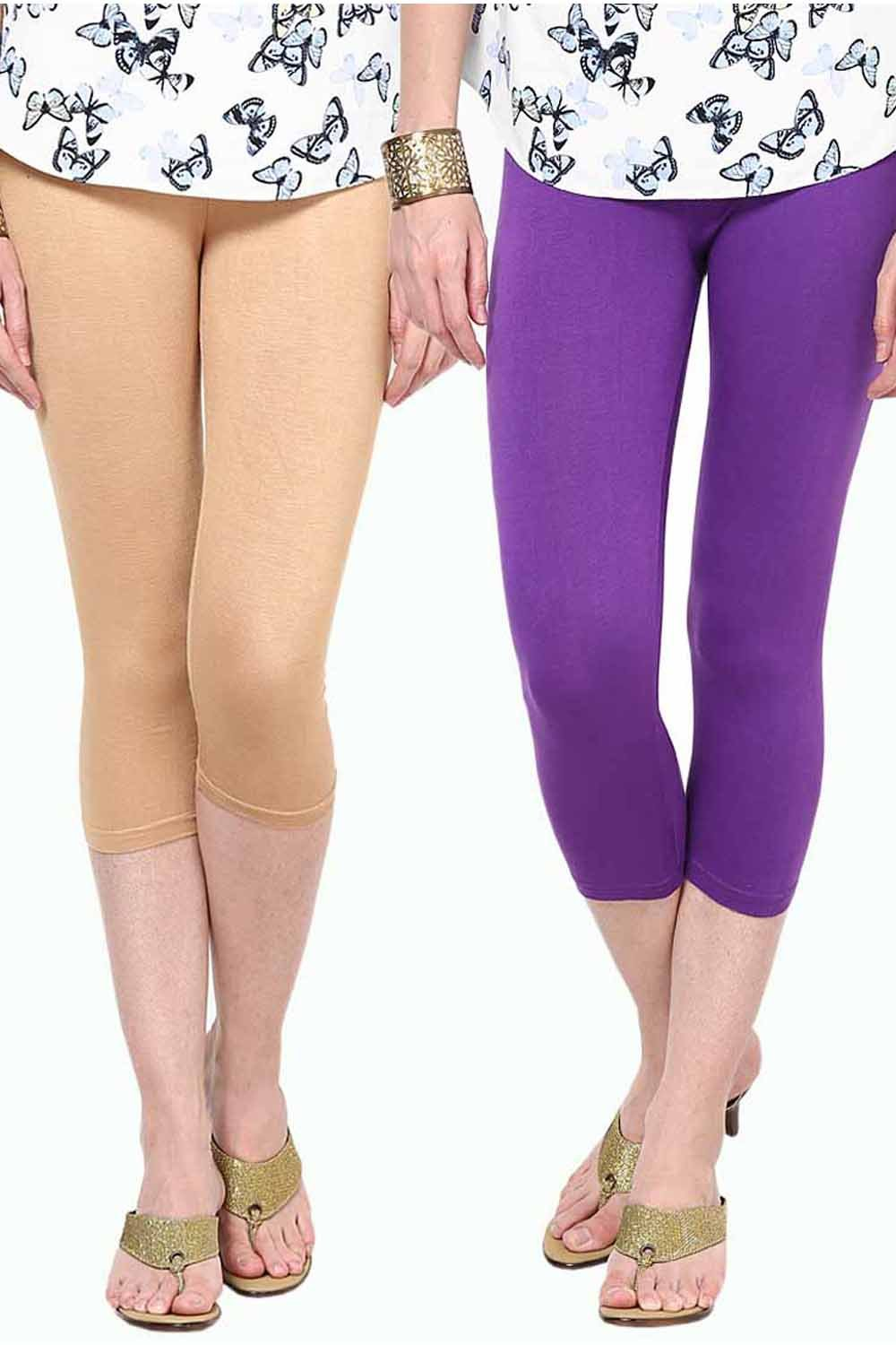Castle Pack of 2 Multicolor Solid Capris30