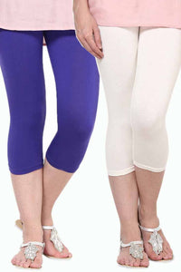 Castle Pack of 2 Multicolor Solid Capris36