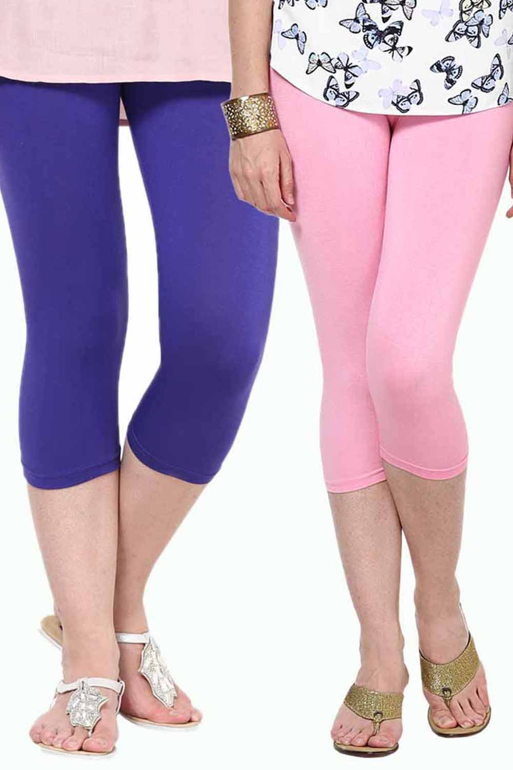 Castle Pack of 2 Multicolor Solid Capris38