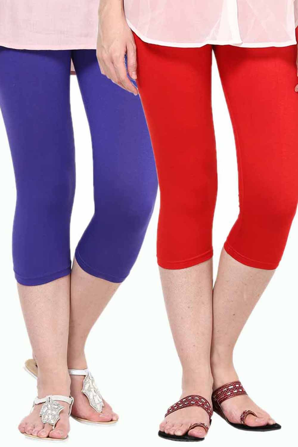 Castle Pack of 2 Multicolor Solid Capris40