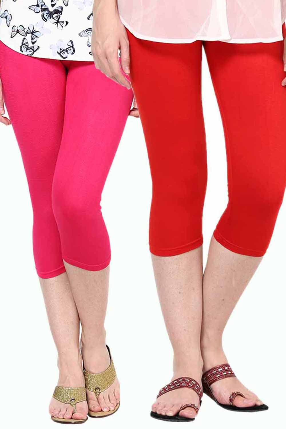 Castle Pack of 2 Multicolor Solid Capris48
