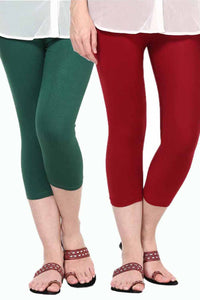 Castle Pack of 2 Multicolor Solid Capris50