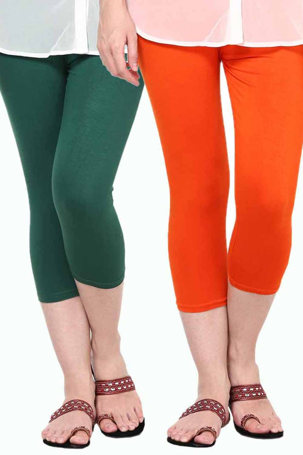 Castle Pack of 2 Multicolor Solid Capris52
