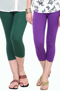 Castle Pack of 2 Multicolor Solid Capris54