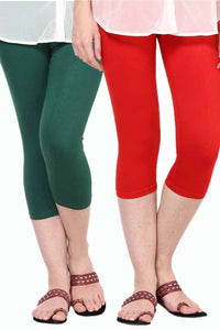 Castle Pack of 2 Multicolor Solid Capris55