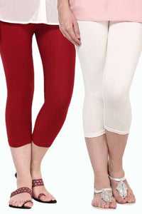 Castle Pack of 2 Multicolor Solid Capris57