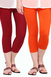 Castle Pack of 2 Multicolor Solid Capris58