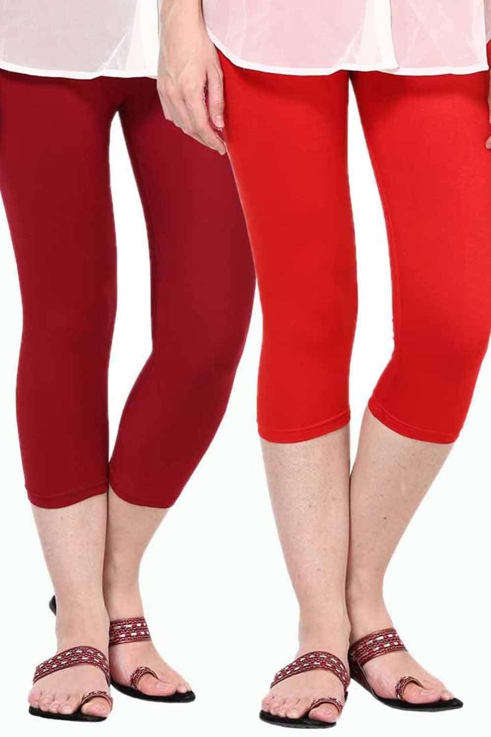 Castle Pack of 2 Multicolor Solid Capris61