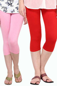 Castle Pack of 2 Multicolor Solid Capris73