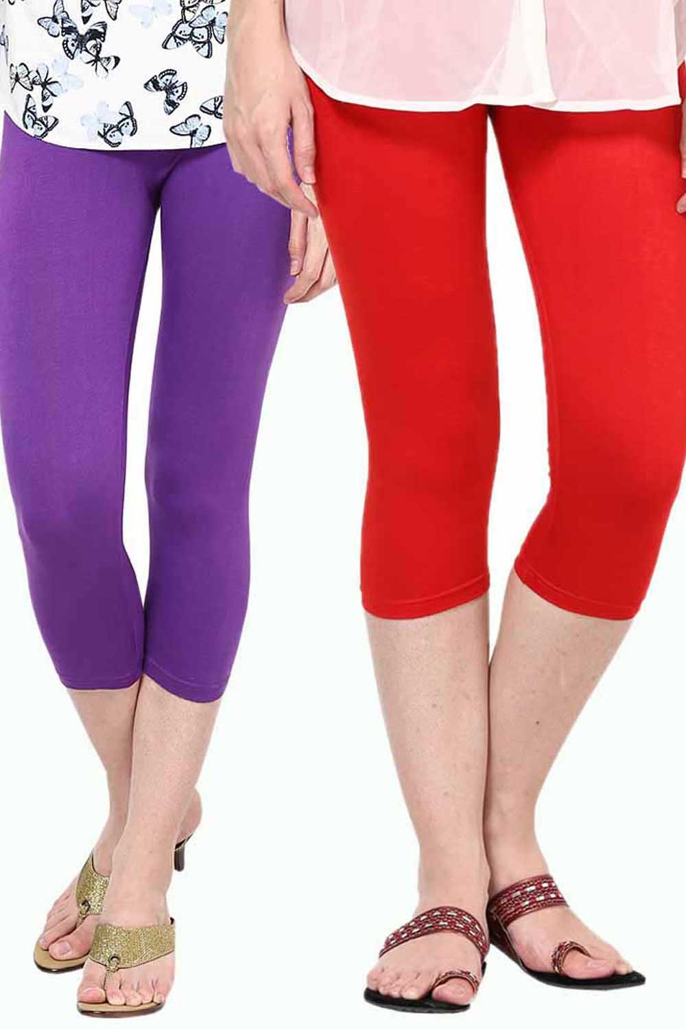 Castle Pack of 2 Multicolor Solid Capris75