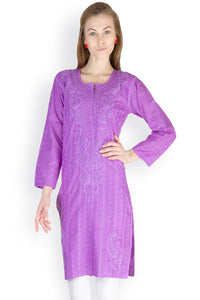Castle Purple Chikankari Embroidered Cotton Kurti