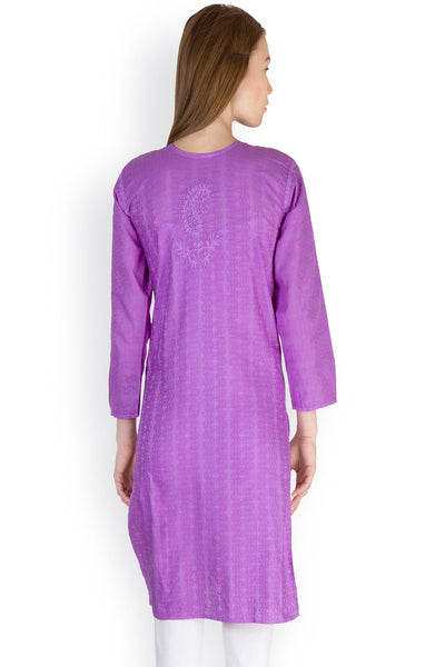 Castle Purple Chikankari Embroidered Cotton Kurti - Castle Lifestyle