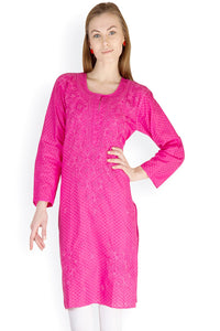 Castle Magenta Embroidered Cotton Kurti